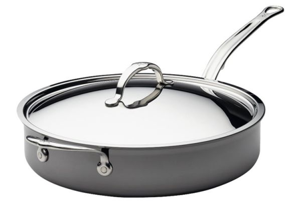 Large image of Hestan Nanobond 5 Qt. Stainless Steel Covered Saute Pan With Helper Handle And Lid - 60028