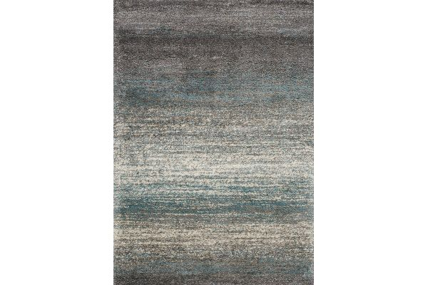 """Large image of Kalora Maroq 6'7"""" X 9'6"""" Grey Blue Banded Soft Touch Rug - 6004/3A38 200290"""