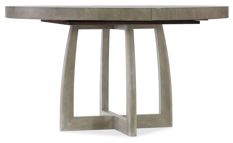 . Hooker Furniture Affinity Greige Oak 48  Round Pedestal Dining Table