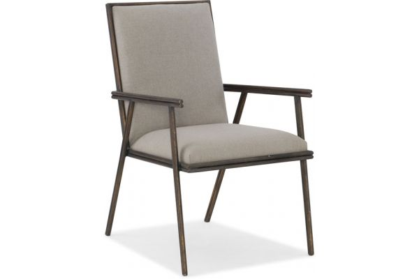 Large image of Hooker Furniture Dining Room Miramar Carmel Fairview Metal Upholstered Arm Chair - 6200-75401-GRY