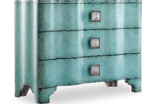 Large image of Hooker Furniture Living Room Melange Turquoise Crackle Chest - 638-85016
