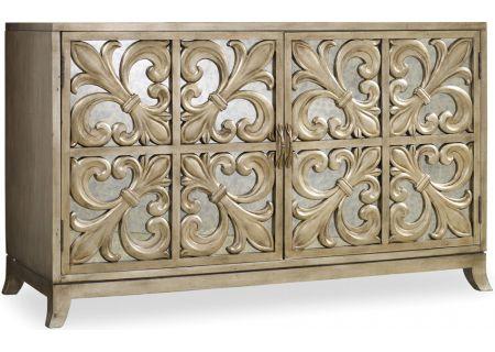 Hooker Furniture Gold Living Room Melange Fleur-de-lis Mirrored Credenza - 638-85057