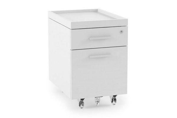 Large image of BDI Centro 6407 Satin White On Oak 2-Drawer File Pedestal - 6407 SW/GRY