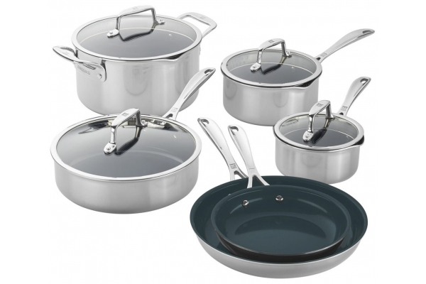 Large image of Zwilling J.A. Henckels Clad CFX 10-Piece Stainless Steel Ceramic Nonstick Cookware Set - 66730-010