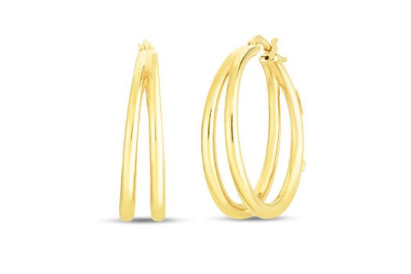 Roberto Coin 18K Gold Graduated 30mm Thin Double Hoop Earrings - 6740626AYER0