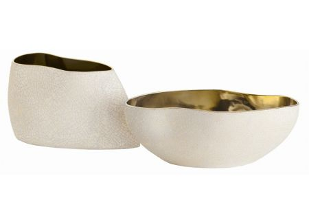 Arteriors Vanessa Set of 2 White Crackle And Gold Speckle Centerpieces - 7676