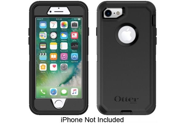 Large image of Otterbox Black Defender Series Case For Apple iPhone 7/8 - 77-56603