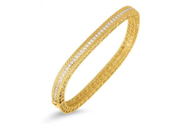 Large image of Roberto Coin 18KT Gold Narrow Bangle with Diamonds - 7771300AYBAXS