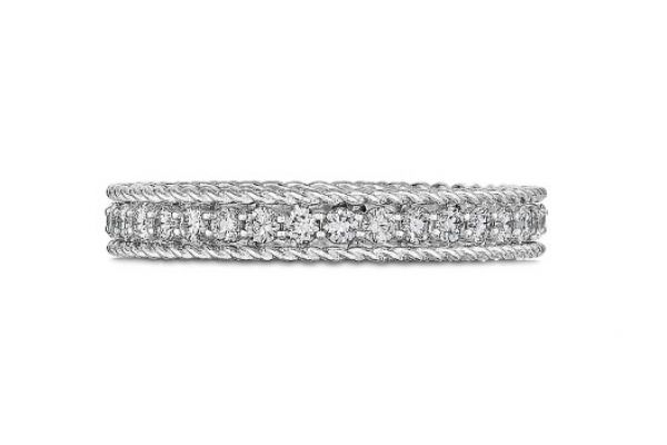 Large image of Roberto Coin 18KT White Gold And Diamond Symphony Princess Ring - 7771359AW65X