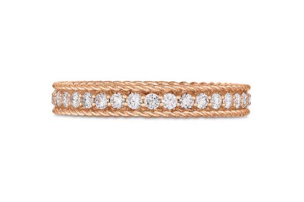 Large image of Roberto Coin 18KT Rose Gold And Diamond Symphony Princess Ring - 7771359AX65X