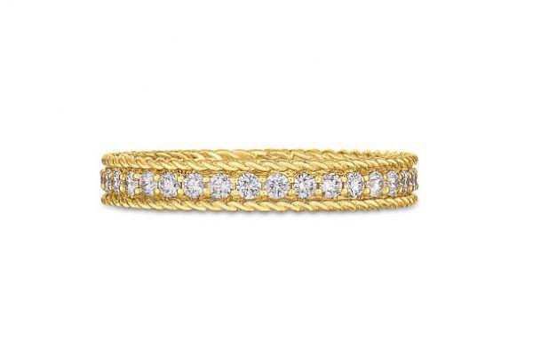 Large image of Roberto Coin 18KT Gold And Diamond Symphony Princess Ring - 7771359AY65X
