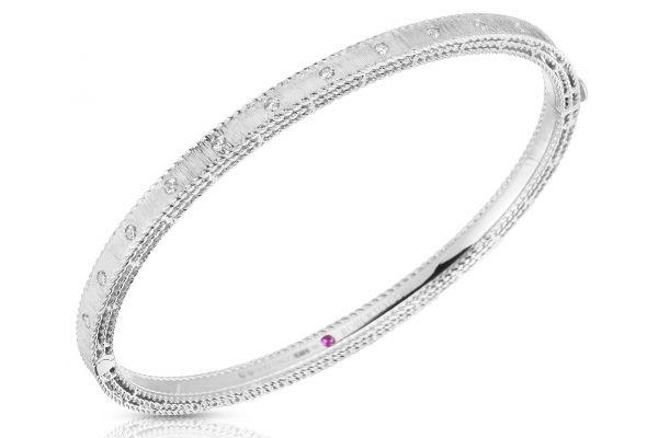Large image of Roberto Coin 18K White Gold Princess Bangle With Diamonds - 7771854AWBAX