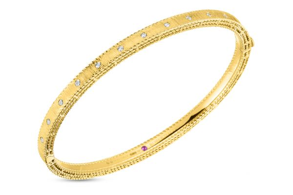 Large image of Roberto Coin 18KT Yellow Gold Princess Bangle With Diamonds - 7771854AYBAX