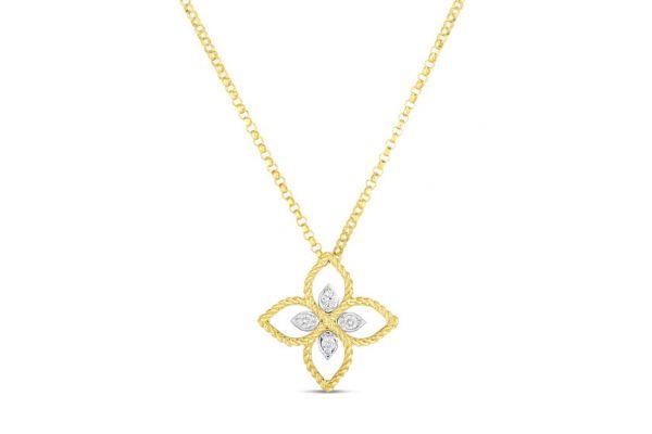 Large image of Roberto Coin 18K Gold Principessa Small Flower Pendant With Diamonds - 7772717AJ17X
