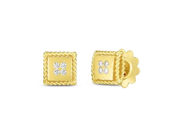 Roberto Coin 18k Palazzo Ducale Satin Stud Earring With Diamond Accent - 7772792AYERX