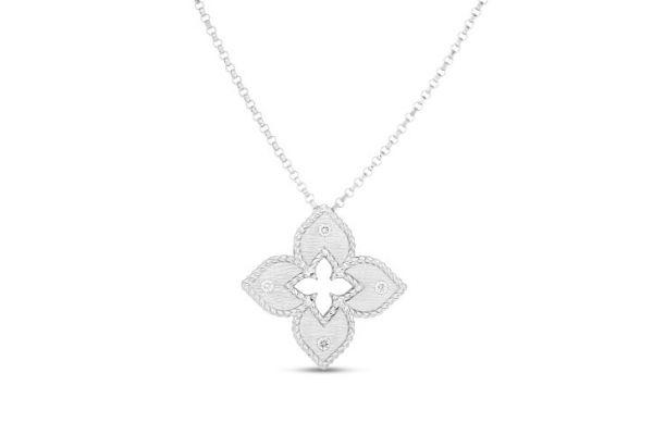 Large image of Roberto Coin 18K White Gold Petite Venetian Princess Satin Flower Pendant With Diamond Accent - 7772824AWCHX
