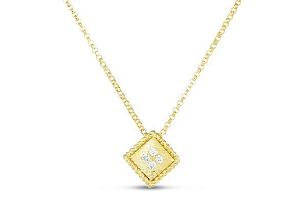 Roberto Coin 18K Yellow Gold Palazzo Ducale Diamond Accent Satin Small Pendant - 7772873AYCHX