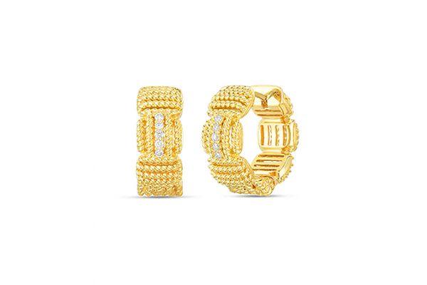 Large image of Roberto Coin 18K Yellow Gold Opera Diamond Accent Hoop Earrings - 7772894AYERX