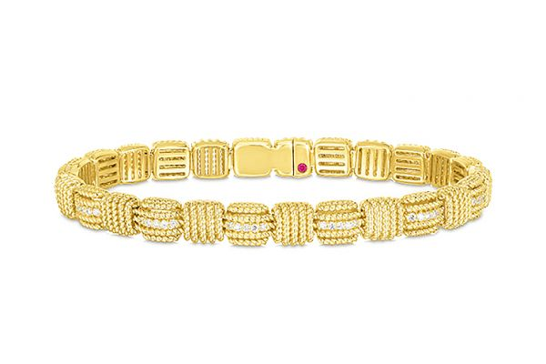Large image of Roberto Coin 18K Yellow Gold Opera Diamond Flexible Bracelet - 7772894AYLBX