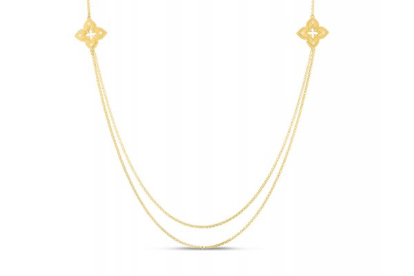 Large image of Roberto Coin 18K Yellow Gold Petite Venetian Princess Long Station Chain Necklace - 7773023AY33X