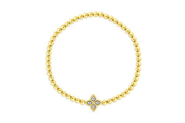 Large image of Roberto Coin 18K Yellow Gold Princess Flower w/ Small Diamond Flower Stretch Bracelet - 7773044AJLBXP