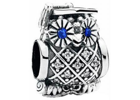 PANDORA Swiss Blue Crystal & Clear CZ Graduate Owl Charm - 791502NSB