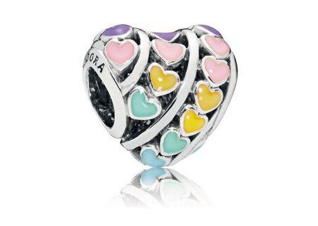 PANDORA Mixed Enamel Multi-Color Hearts Charm - 797019ENMX