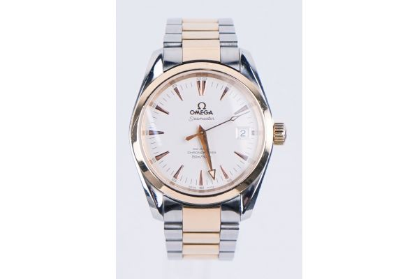 Omega Seamaster Aqua Terra 39mm Two-Tone Silver Dial Pre-Owned Mens Watch - 8148