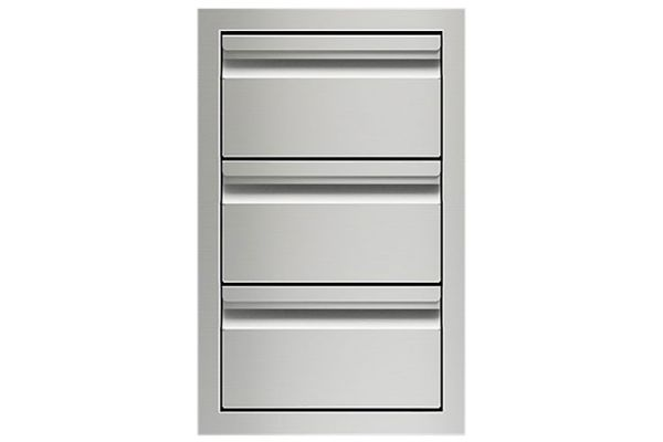 """Large image of Wolf 13"""" Stainless Steel Triple Drawer Storage - 827606"""