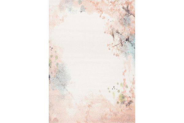"Large image of Kalora Spring 7'10"" X 10'10"" Cream Pink Distressed Outline Rug - 8355/K912 240330"
