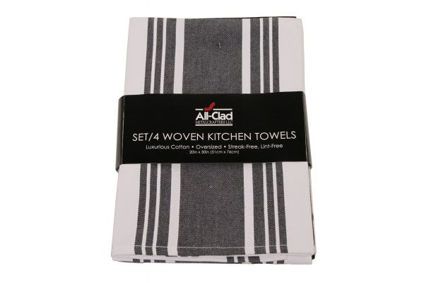 Large image of All-Clad Black Set of 4 Woven Kitchen Towels  - 85014