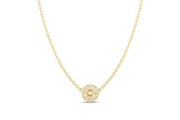 Large image of Roberto Coin 18K Gold And Diamond Pois Moi Luna Solitaire Pendant - 8882616AYCHX