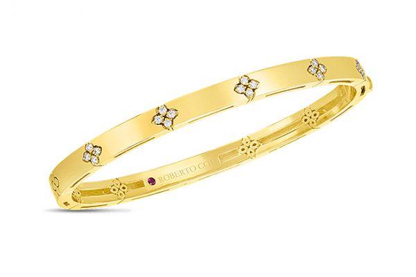 Large image of Roberto Coin 18K Yellow Gold w/ Diamond Accents Verona Narrow Width Bangle - 8882970AYBAX
