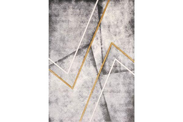Large image of Kalora Soho 5'3'' X 7'7'' Grey White Yellow Zigzag Rug - 8946/27 160230