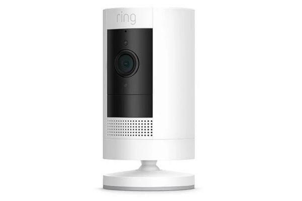 Large image of Ring White Stick Up Battery Security Camera - B07Q6ZZFLS