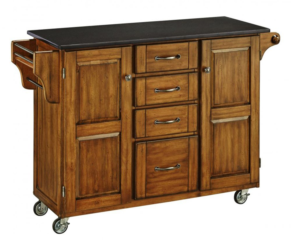 Granite Top Kitchen Cart | Home Styles Create A Cart Warm Oak Finish Black Granite Top Kitchen Cart
