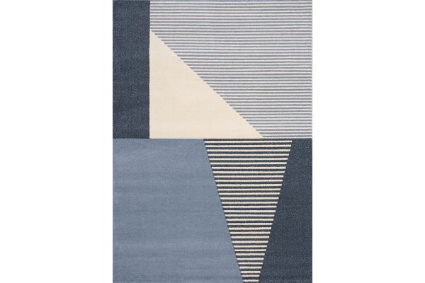 Large image of Kalora Safi 5'3'' X 7'7'' Blue Cream Blocks Stripes Rug - 9147/X131 160230
