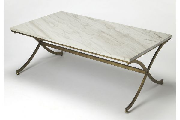 Large image of Butler Specialty Company Pamina Travertine And Antique Gold Coffee Table - 9322355