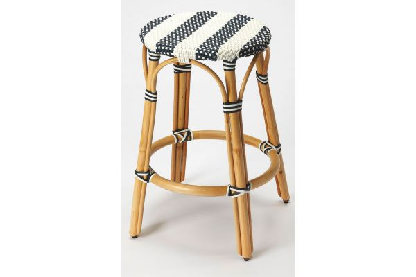Large image of Butler Specialty Company Tobias Blue And White Counter Stool - 9371291