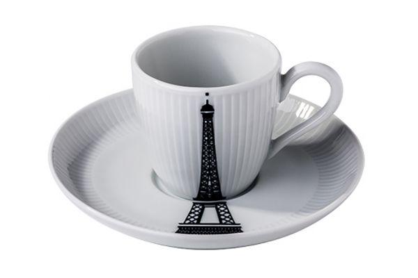 Large image of Pillivuyt Ville De Paris Eiffel Tower Plisse Espresso Cup And Saucer - 994210VPXB