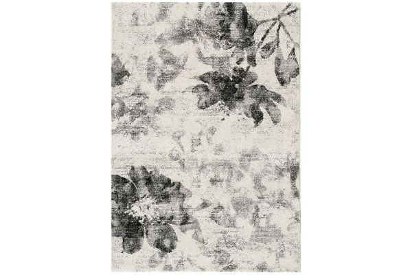 "Large image of Kalora Breeze 5'3"" X 7'7"" Cream Grey Floating Flowers Rug - A002/7171 160230"