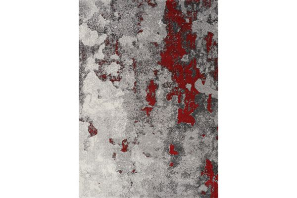 """Large image of Kalora Freemont 7'10"""" X 10'6"""" Grey/Red Abstract Expression Rug - A006/0323 240320"""