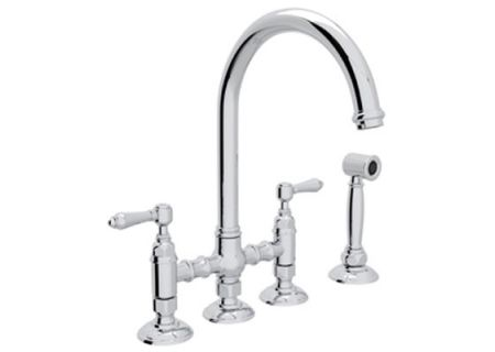 Rohl Polished Nickel Country Kitchen C-Spout Bridge Faucet With Sidespray  - A1461LMWSPN-2