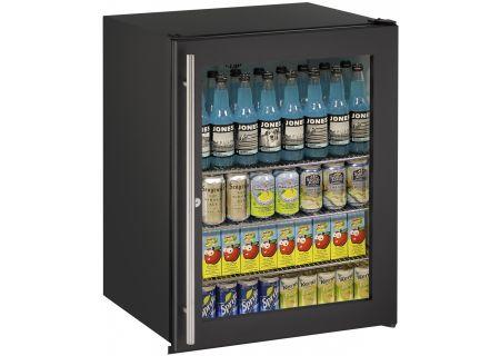 "U-Line 24"" Black Glass Door Compact Refrigerator - U-ADA24RGLB-13B"