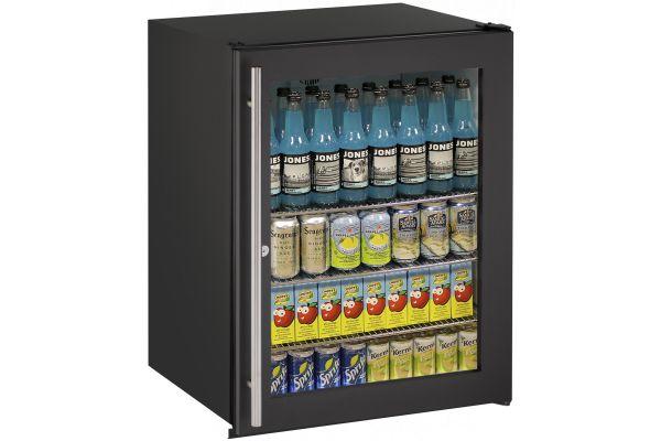 "Large image of U-Line 24"" Black Glass Door Compact Refrigerator - U-ADA24RGLB-13B"