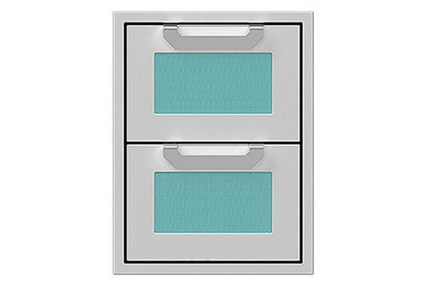 "Large image of Hestan 16"" Bora Bora Outdoor Double Storage Drawers - AGDR16-TQ"