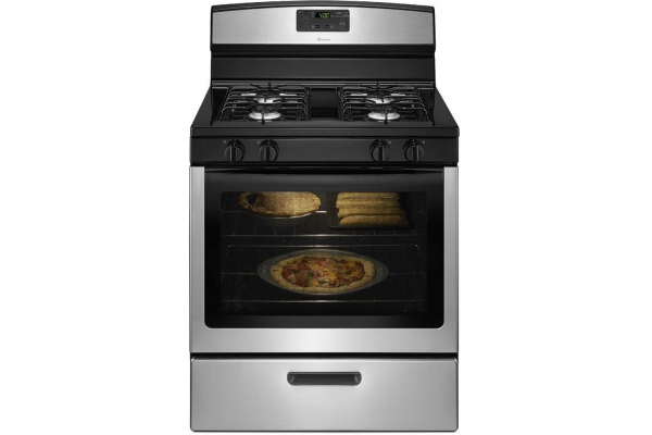 """Large image of Amana 30"""" Stainless Steel Gas Range With Easy Touch Electronic Controls - AGR5330BAS"""
