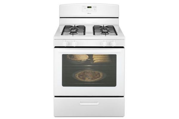 Large image of Amana 5.1 Cu Ft Free Standing White Gas Oven Range - AGR5330BAW