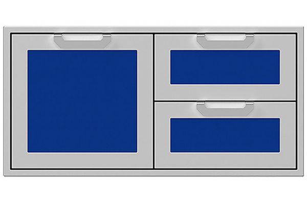 """Large image of Hestan 42"""" Prince Outdoor Combo Storage Door And Double Drawer - AGSDR42-BU"""