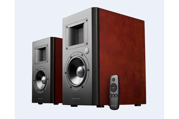 Large image of Edifier Airpulse A200 Cherry Wood Studio-Quality Bluetooth Bookshelf Speakers (Pair) - APA200CH
